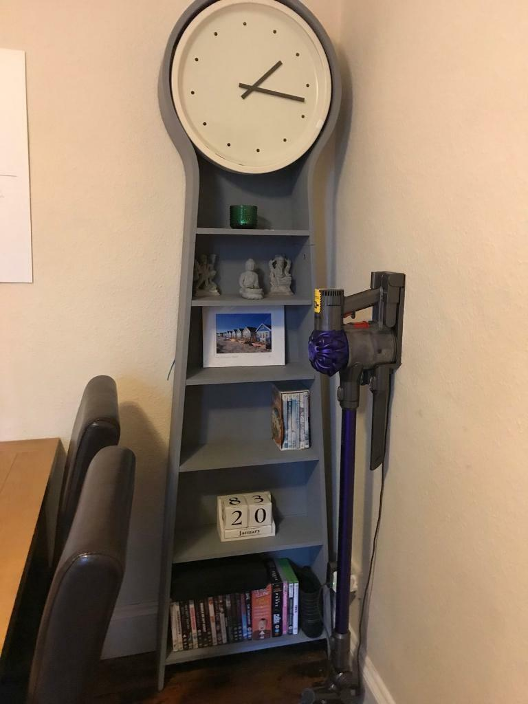 Large Grey Grandfather Clock With Shelves