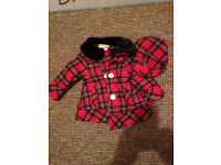 Baby GIRLS Spanish Tartan Wool Style Coat with Matching Beret Fits 1 Year Old BNWT Will POst