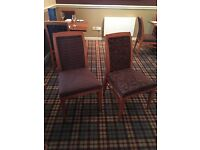 Wooden dining chairs with purple fabric (2 contrasting designs available)