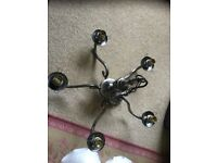5 arm gunmetal light fitting with glass shades