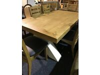 Large Solid OAK NEW table and NEW six Solid Wood Strong Chairs