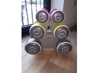 Dumbbells Weights Set (2x 5kg, 2x3kg, 2x1.5kg) with stand