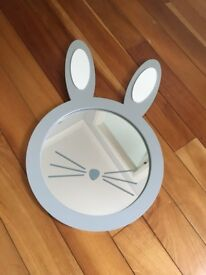 Gorgeous great little trading company GLTC bunny rabbit mirror with ears and whiskers