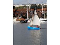 vintage 12' Heron dinghy lovely boat ready to go sailing + good road trailer