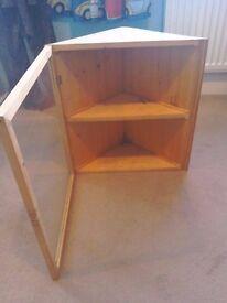 Glass / pine wall mounted corner unit
