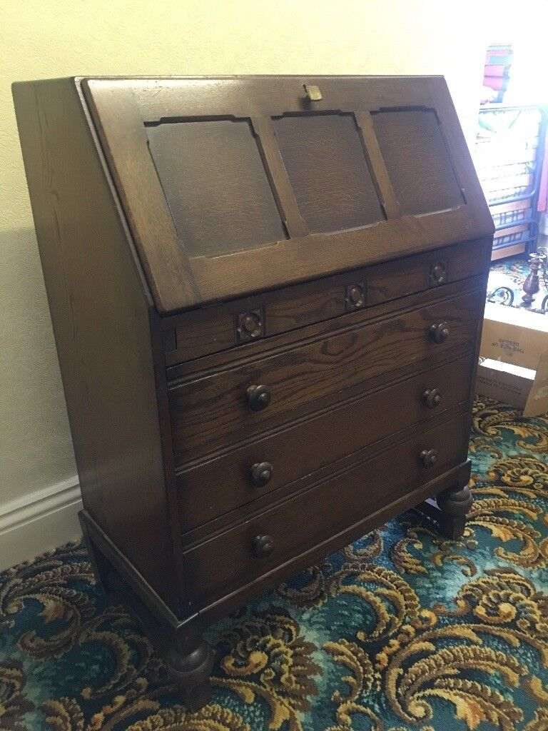 3 Drawer Wooden Writing Desk With Pull Down Storage Behind