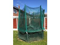 8ft Trampoline with enclosure, ladders and trampoline skirt