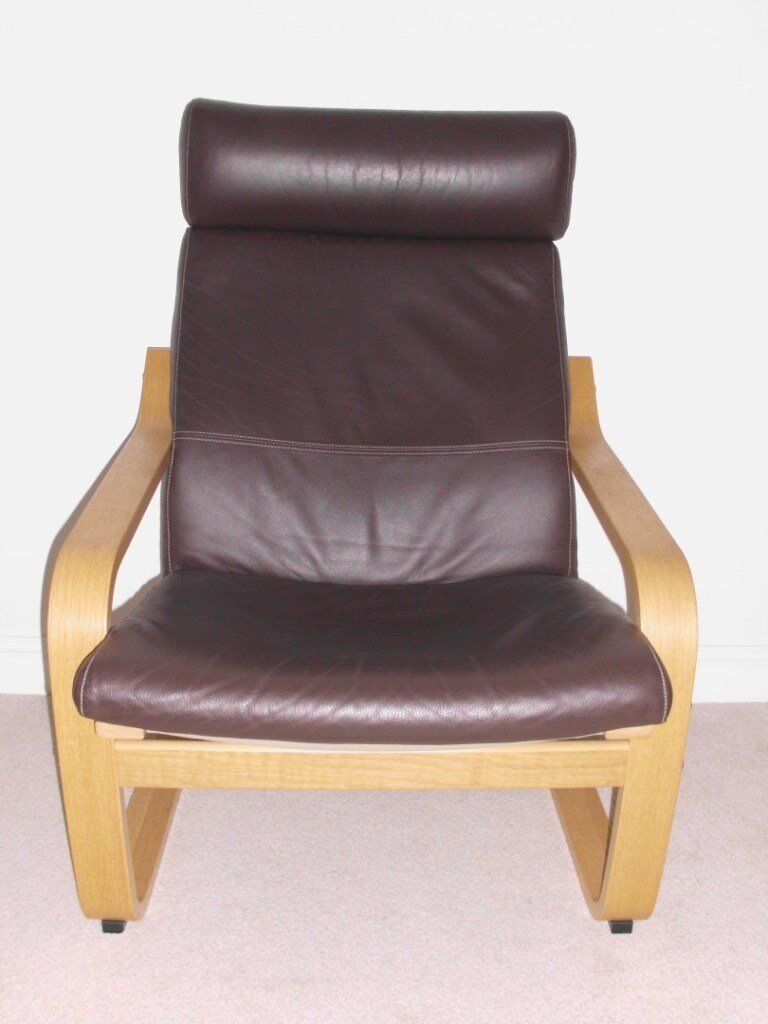 Ikea Poang Chair First Class Condition Oak Frame Dark Brown Leather