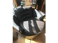 DFS swivel chair, Left hand corner sofa and matching storage pouffe