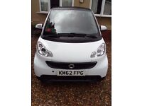 SMART FORTWO PURE 61 MHD AUTO COUPE IN WHITE WITH BLACK ROOF GREY TRIM LEATHER INTERIOR