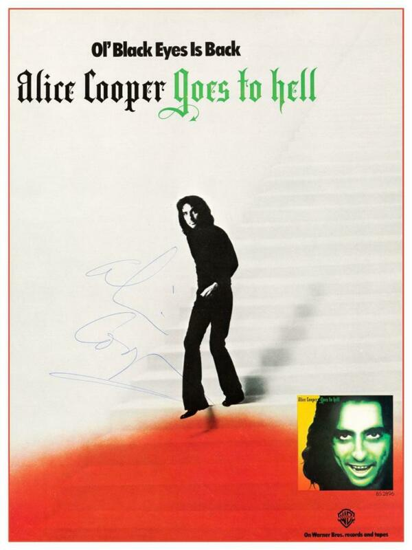 Alice Cooper - POSTER - Goes To Hell - SIGNED promo ad - 1976 AMAZING IMAGE