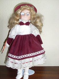 "Decorative doll 16"" Violinist dressed in Burgundy"