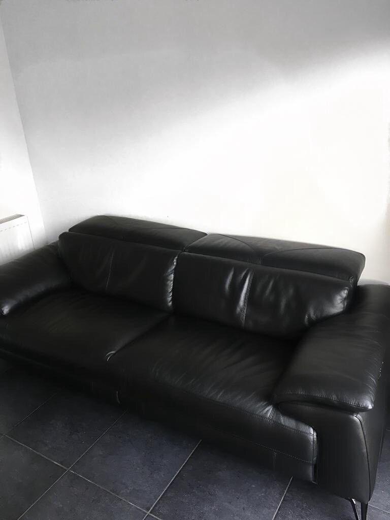 Black Black Leather Sofa Dfs Iconica Caldo 3 Seater
