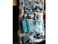 new makita 18v 6 pc combo kit +2 batteries 5,0ah+double charger+bag