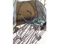 2x mitchell rods and reels 3x oakwood rods and reels wheel barrow camo holdall rod pod and bivvy