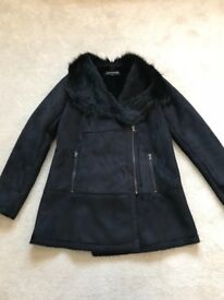 Ladies black Warehouse coat in UK Size 14. Perfect condition, only worn once!