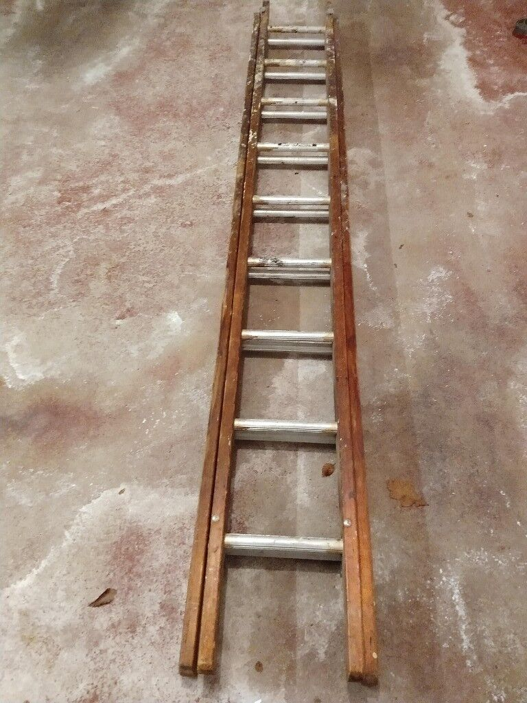 Vintage Wood And Aluminium 8ft Extension Ladder