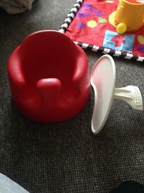 Red bumbo seat with removable tray