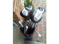 Men's donaghy carbon fiber golf clubs plus bag.