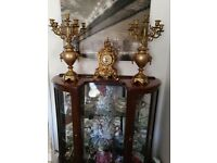 Lovely large brass clock and candelabras