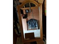 Mirror with oak effect frame