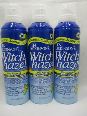 3 T.N. TN Dickinsons Witch Hazel Astringent Spray 99% Natural 6oz Each Dickinsons Witch Hazel Astringent