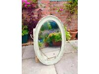 **ATTRACTIVE VINTAGE OVAL MIRROR- upcycled chalk & wax- bevel edge **