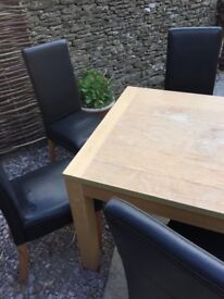 Kitchen / Dining table and 4 x faux leather chairs