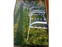 6 X GREY METAL CHAIRS WITH CUSHIONS