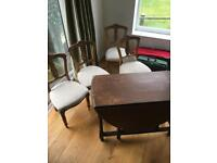 Oak fold down dining table & chairs