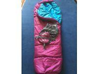 Vango Nitestar Junior. Plum purple kids mummy-style cozy sleeping bag for camping.