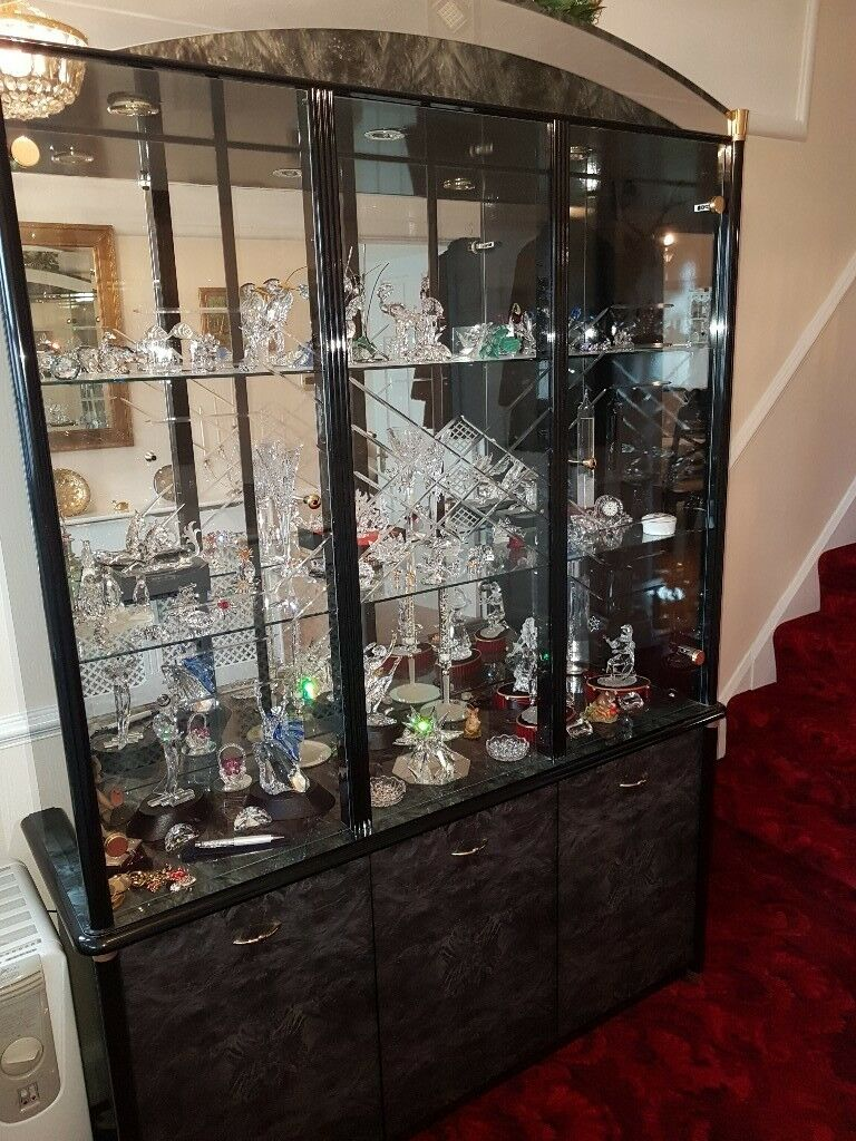 Wall Display Unit Black Italian Laquer Mirror Backed