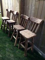 Brand New Handmade Solid Oak Bar and 4 Bar Stool Set.