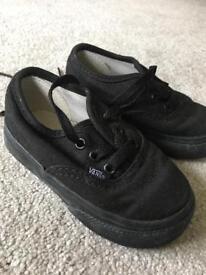Baby boy/toddler black vans size 4