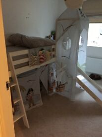 High sleeper bed with slide