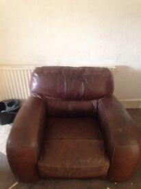 Used leather armchair