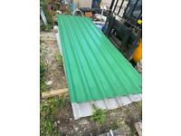 4no 10ft x 1mtr heritage green plastic coated polyester paint finish roof sheets.