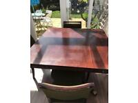 Antique extendable table and 8 chairs