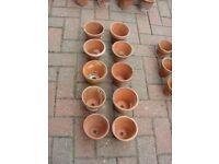 10 x Vintage Terracotta Clay Flower Pots Ceramic Pottery Plant Pot H 11cm x W 12cm