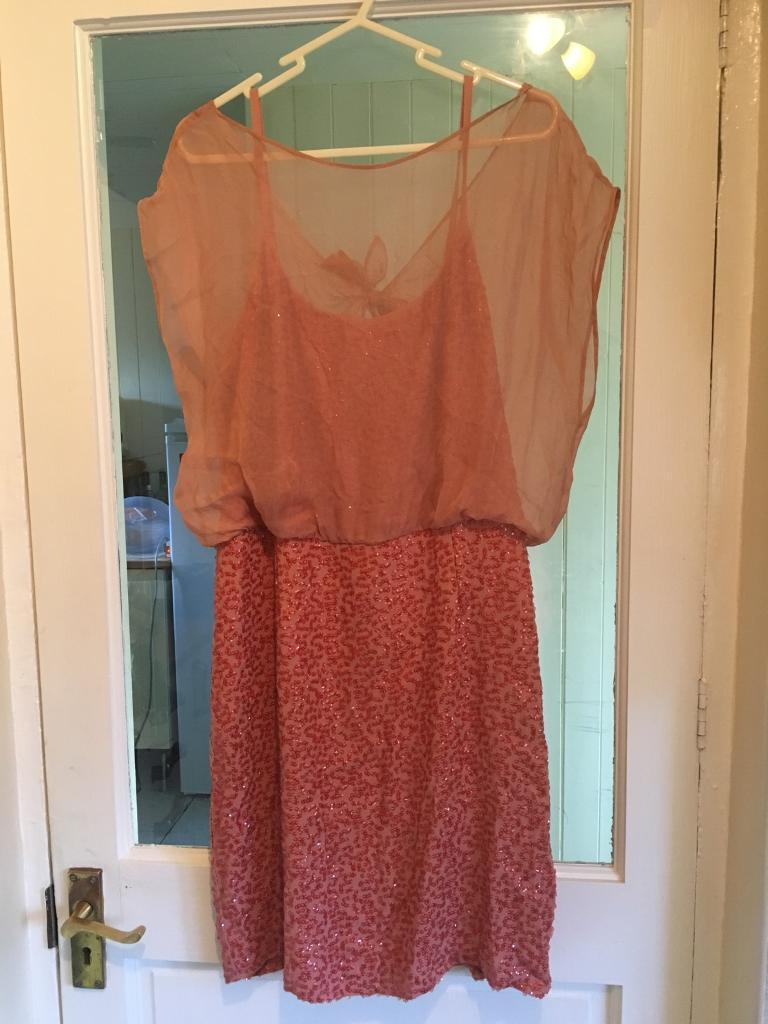 French connection size 14 dusky pink party dress