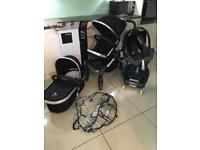 I Candy Peach 3 (LEATHER HANDLE) in Black magic with carrycot