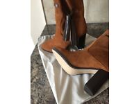 MANGO Tan Suede Leather Tassel Boots Size 4/37 Brand New With Cloth Bag
