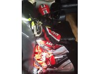 Kids motocross outfit with 2 helmets
