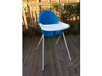 Mothercare plastic baby highchair white and turquoise
