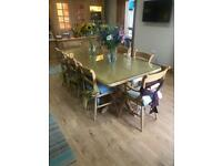 Large 8 seater maple dining table with matching chairs