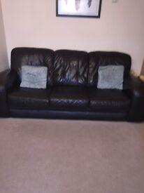 Four piece brown leather sofa £350.00 ovno