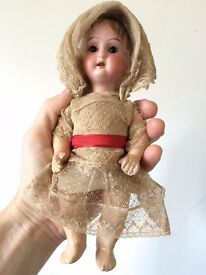 LOVELY RARE GERMAN BISQUE HEAD DOLL WITH ORIGINAL LACE CLOTHES