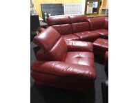Large as new real leather corner suite-armchair,two footdtools