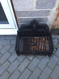 Large. Cast iron fire basket with ash collection tray used but in good condition