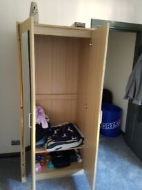 Double bed and a wardrobe